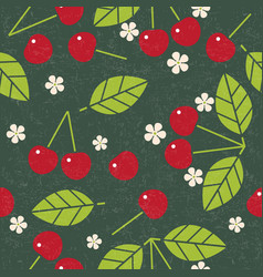 cherry leaves flowers seamless pattern vector image