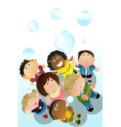 Children playing bubbles vector