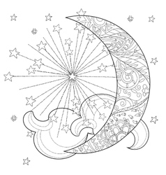 Christmas half moon with stars vector image