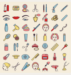 cosmetic beauty and make up icon set vector image vector image
