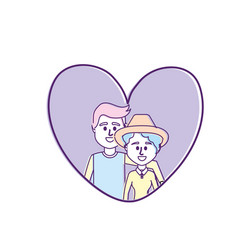 couple together inside heart design vector image