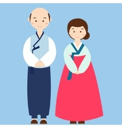 couple wearing korean traditional clothes costume vector image