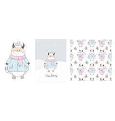 cute ox in a scarf winter hand drawn cards and vector image