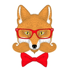Cute red fox portrait face with french mustache vector