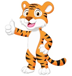 Cute tiger cartoon giving thumb up vector