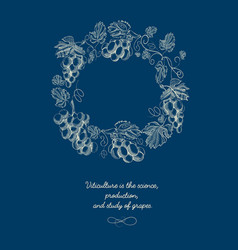 decorative natural round wreath blue background vector image