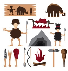 flat design icons of paleo food and caveman theme vector image