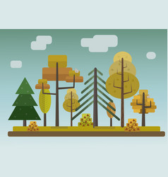 Flat style autumn forest on storm sky background vector