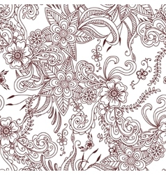 Floral hand drawn seamless pattern background vector image