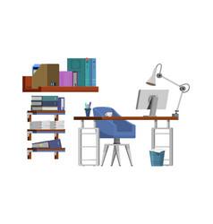 freelancer workplace boss - cartoon style vector image