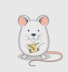 Funny mouse keeps cheese vector
