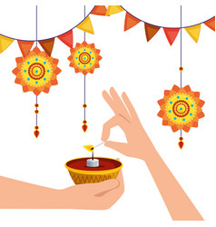 Hands with candle and flowers hanging with party vector