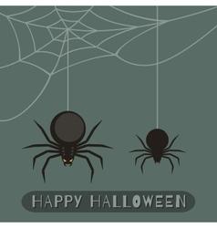 happy halloween banner flat with spider vector image
