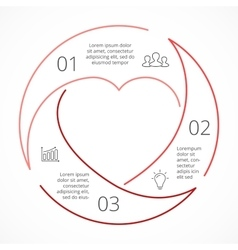 heart circle linear infographic Template vector image