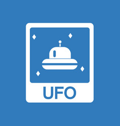 Icon flying saucer on card vector