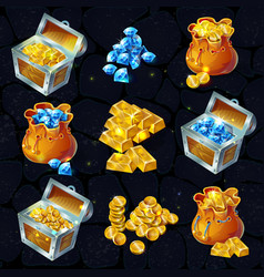 Isometric treasure elements set vector