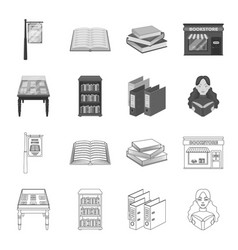 Library and bookstore outlinemonochrome icons in vector