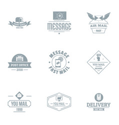 Mail shop logo set simple style vector