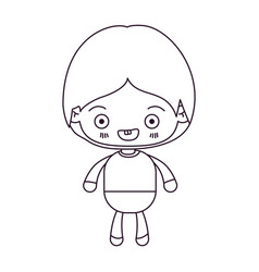 Monochrome silhouette of kawaii little boy smiling vector