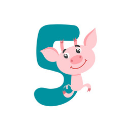 number five with cute cartoon pig isolated on vector image