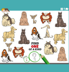 One a kind game for kids with cartoon purebred vector