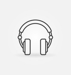 over-ear headphones simple icon in thin vector image