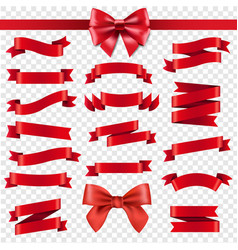 red ribbon and bow transparent background vector image