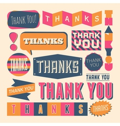 Retro style thank you design elelements set vector
