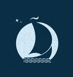 sailboat at sea in the background of the moon vector image vector image
