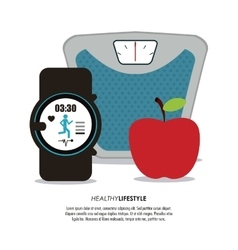 Scale apple and watch icon Healthy lifestyle vector