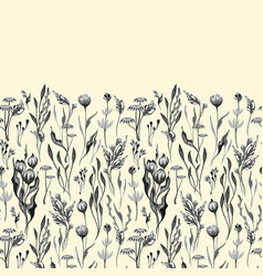 Seamless floral border herbs and wild vector
