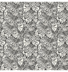 Seamless monochrome pattern with abstract flowers vector