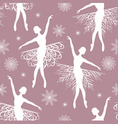 Seamless pattern with ballerina and snowflakes vector