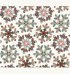 seamless pattern with hand drawn snowflakes vector image