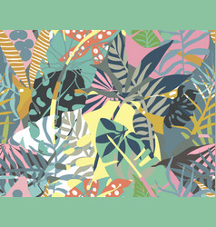 seamless pattern with tropical plants and vector image