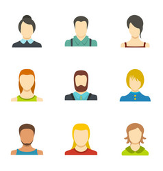 Self identification icons set flat style vector