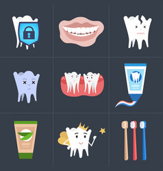 set healthy tooth perfect smile toothpaste vector image