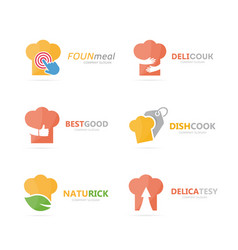 set of chef hat logo combination kitchen vector image