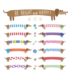 Set of cute dachshunds vector image