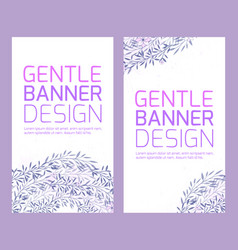 set vertical banners with delicate pattern of vector image