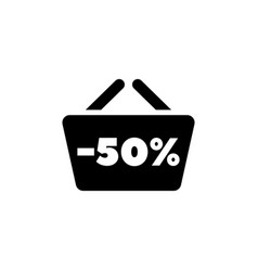 Shopping basket with sale anouncement flat vector