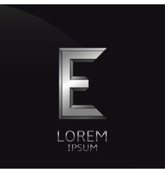 Silver E Letter emblem vector