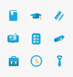 six colorful flat education icons set on white vector image
