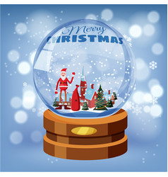 snow globe with shiny snow santa claus winter vector image