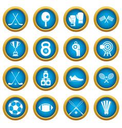sport equipment icons blue circle set vector image