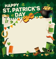 st patricks day vintage holiday frame for text vector image