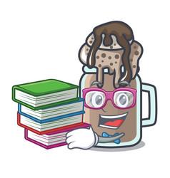Student with book milkshake mascot cartoon style vector