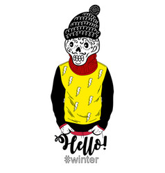 Sugar scull portrait in human clothes vector