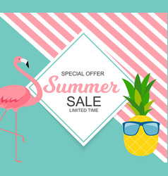Summer sale concept with colorful cartoon pink vector