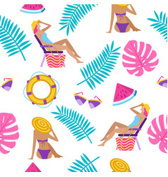summer time vacation seamless pattern vector image